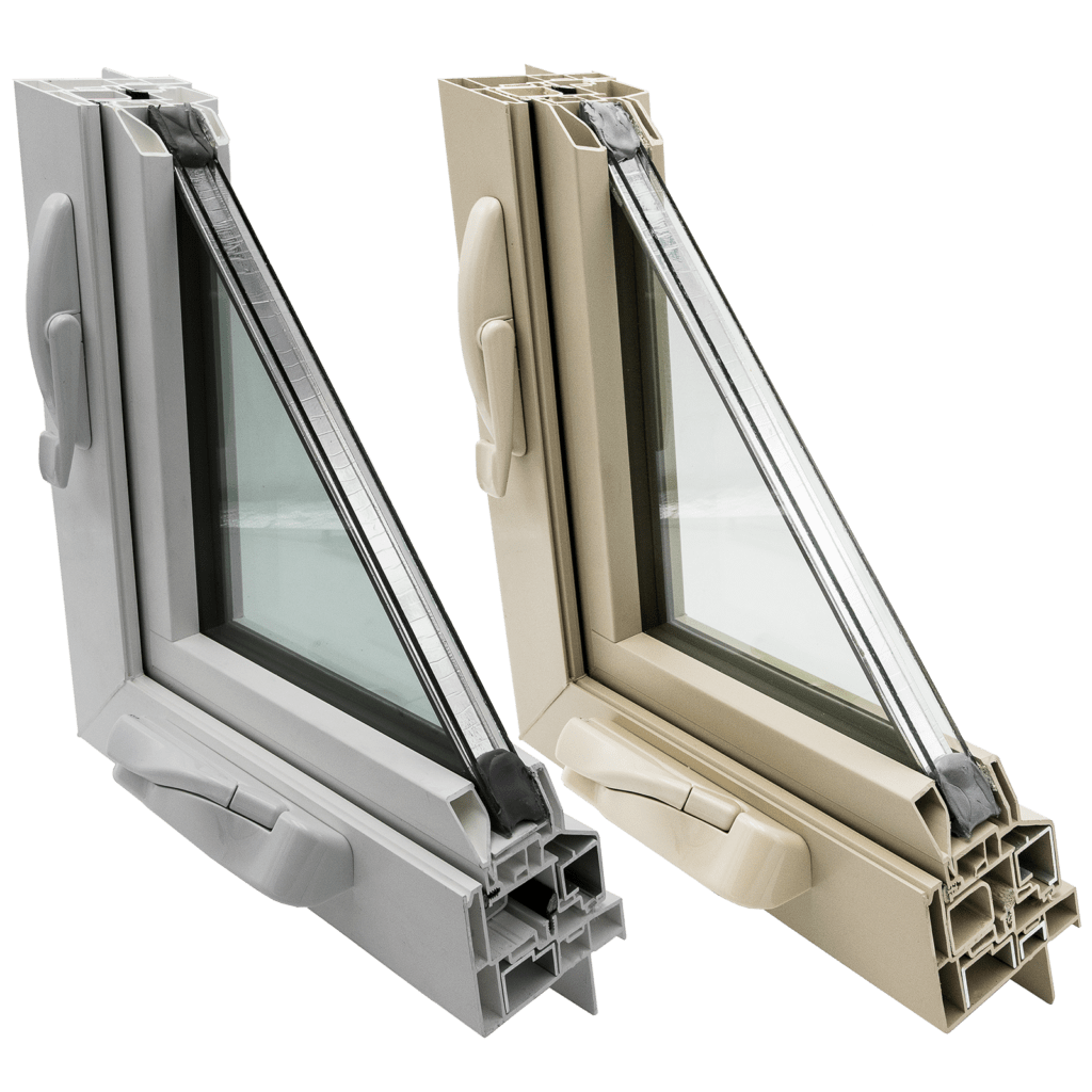 Win-Dor 1750 White and Beige Combined Casement Cutaway with Hardware