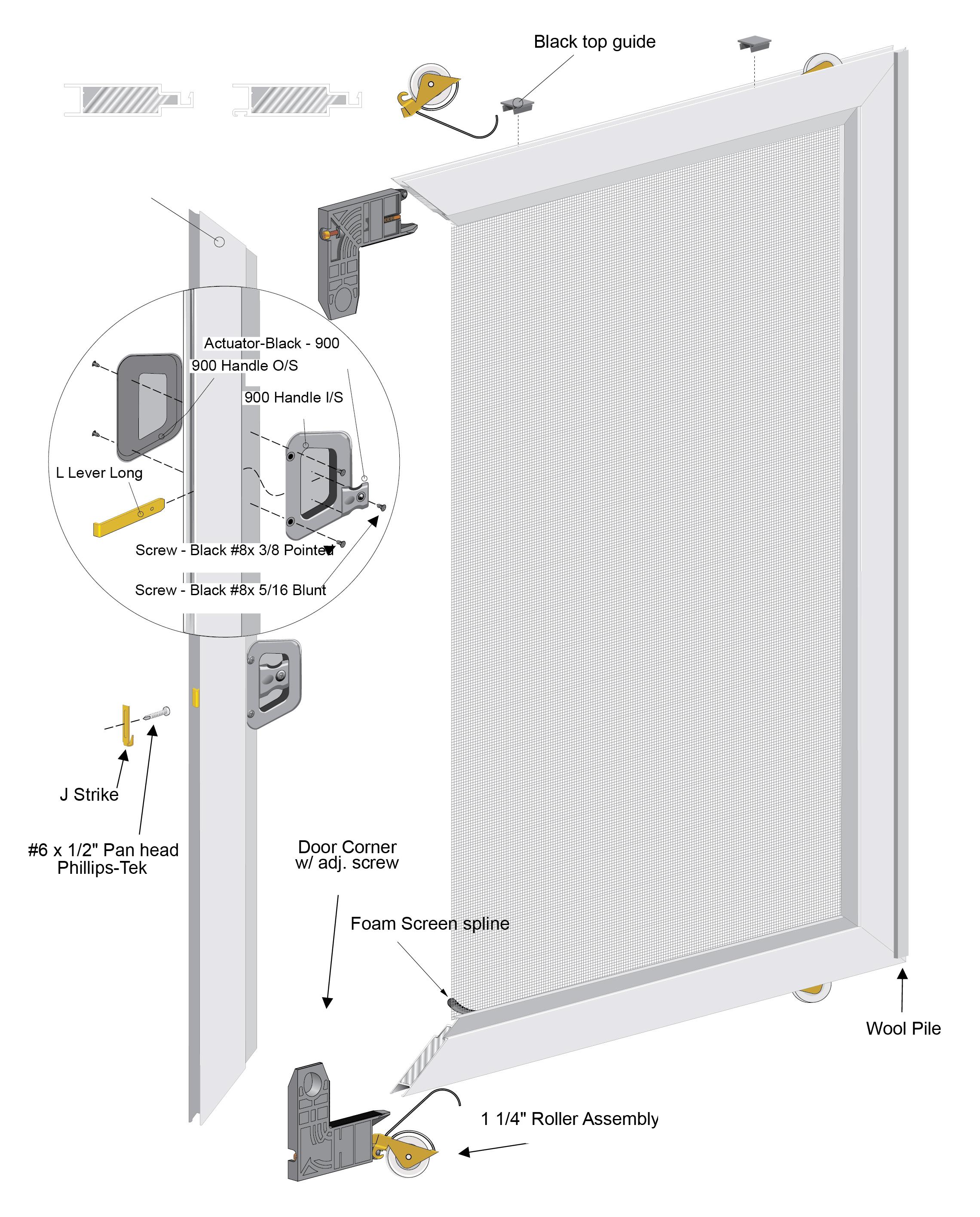 2750/3750 Sliding Door Standard Screen System