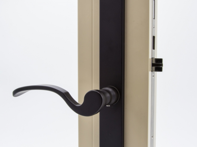 3750 Beige Sash Swing Door with Black Flaired Hardware