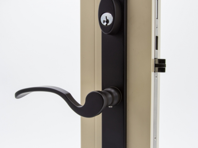 3750 Beige Sash Swing Door with Black Flaired Keyed Hardware