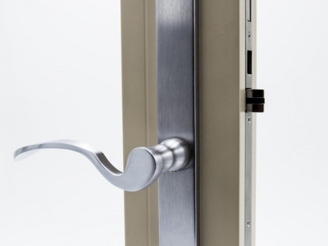3750 Beige Sash Swing Door with Brushed Chrome Flaired Hardware