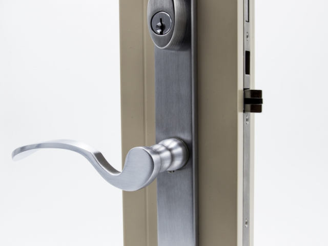 3750 Beige Sash Swing Door with Brushed Chrome Flaired Keyed Hardware