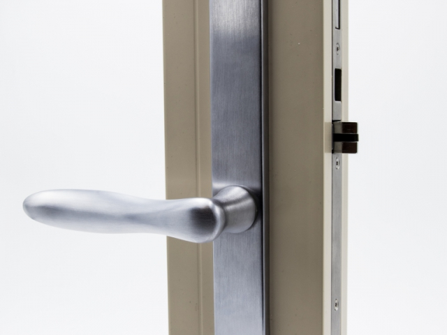 3750 Beige Sash Swing Door with Brushed Chrome Straight Hardware