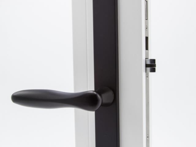 3750 White Sash Swing Door with Black Straight Hardware
