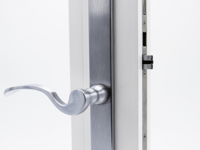 3750 White Sash Swing Door with Brushed Chrome Flaired Hardware