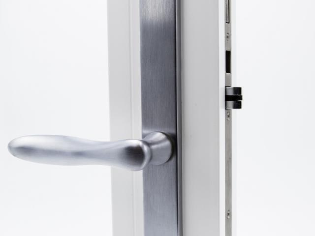 3750 White Sash Swing Door with Brushed Chrome Straight Hardware