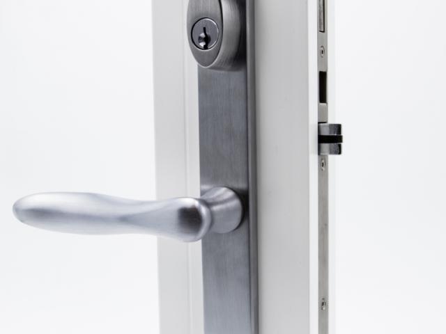 3750 White Sash Swing Door with Brushed Chrome Straight Keyed Hardware