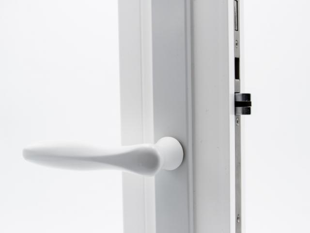 3750 White Sash Swing Door with Straight Hardware
