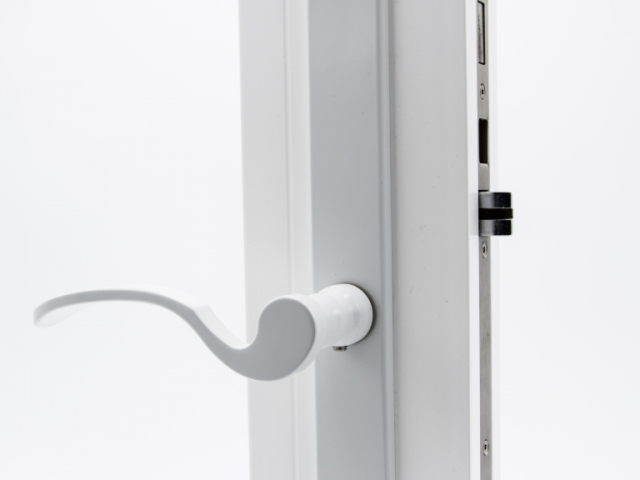 3750 White Sash Swing Door with White Flaired Hardware