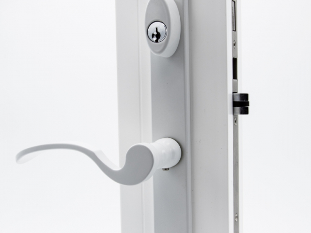3750 White Sash Swing Door with White Flaired Keyed Hardware