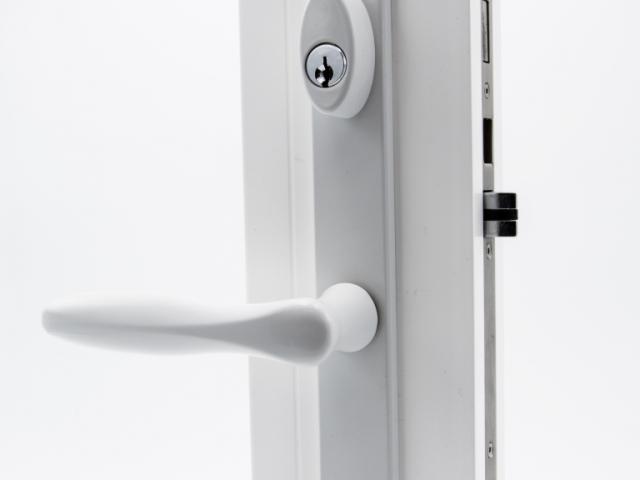 3750 White Sash Swing Door with White Straight Keyed Hardware