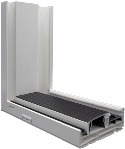 3750 Sliding Patio Door Cutaway Extruded White Bronze Sill