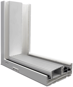 3750 Sliding Patio Door Cutaway Extruded White Clear Sill