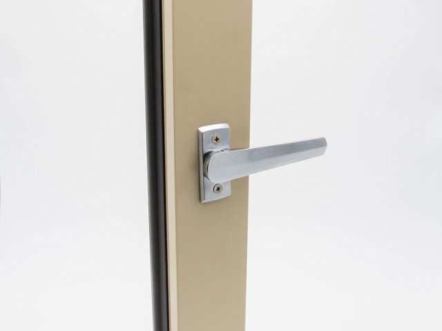 Beige 3750 Folding Door with Brushed Chrome Shoot Bolt